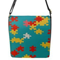 Puzzle Pieces Flap Closure Messenger Bag (Large) from CowCow.com #women  puzzle -  bag -  abstract