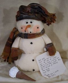 Cloth Doll Making Sewing Patterns by Michelle Allen of Raggedy Pants Folk Art Designs Wooden Snowmen, Primitive Snowmen, Primitive Christmas, Christmas Snowman, Christmas Ornaments, Primitive Stitchery, Primitive Patterns, Primitive Crafts, Father Christmas