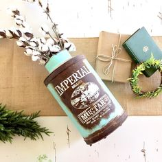 A truly rustic aqua colored can to hold your faux florals. Comes with a lid. Only 1 available