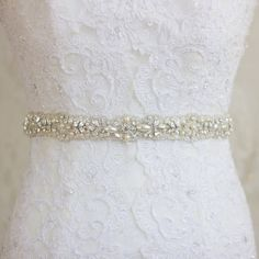 Crystal Pearl Bridal sash, Antiqued silver Rhinestone Ivory sash belt, Narrow Waist Wedding gown sash belt dress, diamante embellished Sale