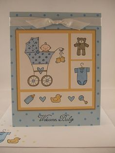 "Stampin Up ""Baby Bundle"" Handmade Blue Baby Card"