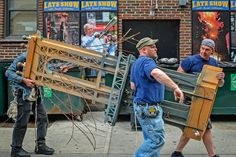 "David Letterman's farewell show may have drawn the largest Late Show audience in 21 years, but even those numbers couldn't stop time. On Thursday, a demoltion crew took apart Letterman's iconic set at New York's Ed Sullivan Theater, throwing many of the items into a dumpster.  [ew_image nid=""2200138"" align=""left"" width=""320"" height=""240""]  [ew_image nid=""2200143"" align=""left"" width=""320"" height=""240""]"