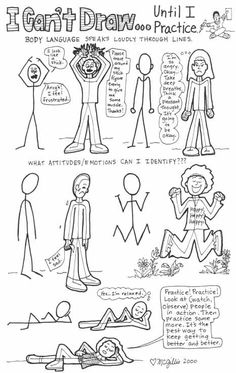 Learn to draw people with body language and emotion.  This is a good lesson for beginners learning how to draw.
