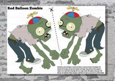 A cute decoration for your Plants vs Zombies party. Can be used as a take home party favour as well if you make one for each child. Print out Zombie Themed Party, Zombie Birthday Parties, Nerf Party, Boy Birthday, Party Party, Birthday Ideas, Floating Balloons, Helium Balloons, Plants Vs Zombies