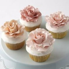 Sugarcraft flowers are a continuing trend in baking this year. Keep on trend this Valentines day with this how to make rose cupcakes tutorial from Wilton.Love in Bloom Rose-Topped Cupcakes - Whether in a stunning cupcake display or individually showcased Wilton Cakes, Mini Cakes, Cupcake Cakes, Cupcake Toppers, Car Cakes, Cupcakes Flores, Pink Cupcakes, Floral Cupcakes, Fancy Desserts