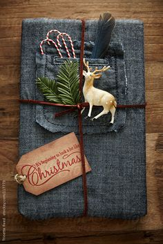 Hipster gift wrapped in denim with leather twine and ornaments  by Trinette Reed
