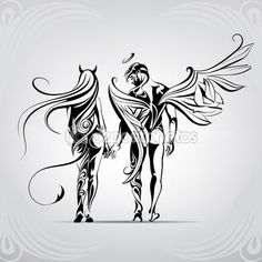 Ангел и демон в орнамент — Векторная картинка #67896187
