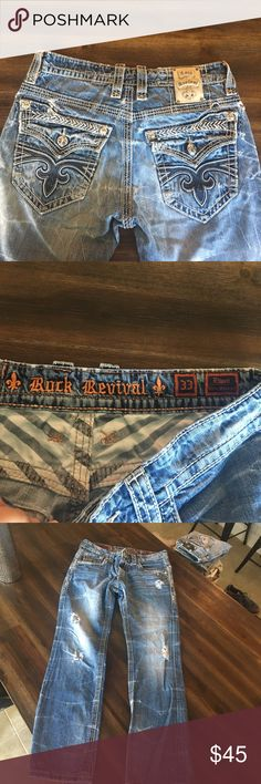 "Rock Revival💥PRICE DROPPED!!! Rock revival jeans, size: 33, length: 40, inseam: 30, style: slim straight Ethan, these are made with ""distressed"" look , that includes style holes throughout front and back), no stains, no separation, all buttons in great shape, please ask all questions before purchase, if additional pictures needed in question of pants comment below. Major price drop! Rock Revival Jeans Slim Straight"