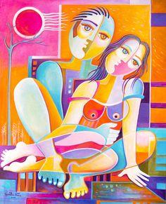 Cubista pintura abstracta Arte Original aceite Marlina Vera