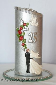 KerzenStudio21.de - Geschenk Kerze Silberhochzeit