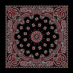 American Made Red and White on Black Western Paisley Bandana Vintage Bandana, Red Bandana, Bandana Print, Bandana Ideas, Bandana Crafts, Pocket Squares, Cool Bandanas, Bandana Design, Paisley Pattern