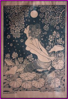Thai traditional art of apsara lotus in the pond by silkscreen printing on cotton on Etsy, $8.26