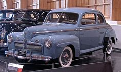1942 Ford Super Deluxe Sedan-Coupe. This is a fairly rare car made just before the black-out models appeared. The 1942 model year was abbreviated due to the advent of World War II. Car production ceased on Feb. 2, 1942 shifting to the manufacture of military arsenal exclusively.