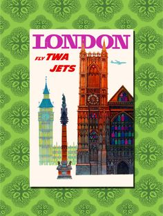 White Frame A3 Size In Black Framed London Fly TWA Jets Travel Poster A4