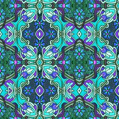 Retro Psychedelic 1880's Meet 1960's Flower Power fabric by edsel2084 on Spoonflower - custom fabric