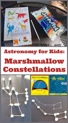 Kids will love learning about the stars and night sky with these fun astronomy activities -- build marshmallow constellations, learn the names of the stars, go stargazing and more fun ideas for lesson plans, notebooks, classroom or homeschool learning! Space Activities For Kids, Educational Activities For Kids, Educational Toys, Kid Science, Science Lesson Plans, Science Experiments, Star Constellations For Kids, Constellation Activities, Space And Astronomy