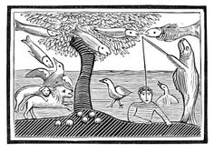 """From a 18th century chapbook entitled  """"The World Turned Upside Down, or the Folly of Man, exemplified in twelve comical relations upon uncommon subjects — Illustrated with twelve curious cuts truly adapted to each story"""": The water wonder or the fishes lords of the creation"""