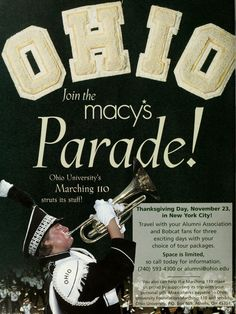 Marching 110 heads to the Macy's parade. Ohio Today, Spring 2000 :: Ohio University Archives