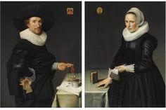 (Museum Het Prinsenhof, Delft, The Netherlands) Two beautiful portraits made by the Dutch artist Willem Willemsz van der Vliet Potrait Painting, Baroque Painting, Dutch Painters, White Caps, Black Suits, Old Master, Renaissance Art, 17th Century, Great Artists
