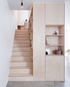 smart plywood stairs with wall storage