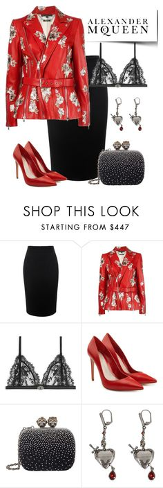 """One brand: Alexander McQueen"" by onelittleme ❤ liked on Polyvore featuring Alexander McQueen, black, red, McQueen and onebrand"