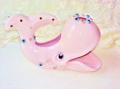 Pink Porcelain Whale Soap Dish Rhinestone by NaturesUniqueBotique
