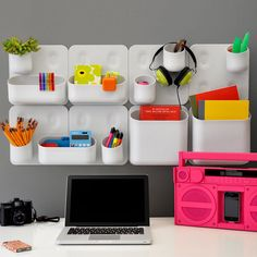 Wall-mounted, modular storage containers. These are absolutely perfect for college.