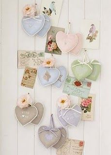 Beautiful wall decor with shabby chic hearts and vintage cards. My Funny Valentine, Valentine Crafts, Valentines, Valentine Ideas, Valentine Heart, Happy Heart, Love Heart, Heart Art, Fabric Hearts