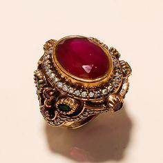 Turkish Jewelry Designer Red Ruby Emerald Gemstone Fine 925 Sterling Silver Ring #Handmade #wedding #EasterGift