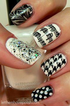 black and white patterns:  houndstooth, silver glitter zebra, music, spatter
