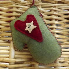 felt mitten with heart and star ornament eco by SeventhStitch