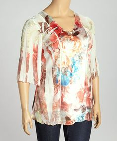 Another great find on #zulily! Green & Rust Floral Sublimation V-Neck Top - Plus #zulilyfinds
