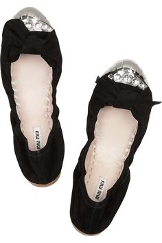 Miu Miu Swarovski Crystal-Embellished Suede Ballet Flats