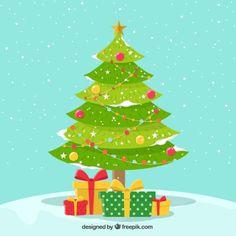 Fondo nevado de bonito árbol de navidad con regalos  Vector Gratis