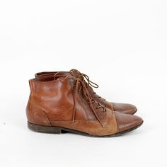 chestnut brown ankle boots 8 lace up leather booties. $48.00, via Etsy.