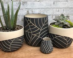 MADE TO ORDER - Mid-size black leaf carved ceramic planter - modern wheel thrown pottery plan. MADE TO ORDER - Mid-size black leaf carved ceramic planter - modern wheel thrown pottery planter - modern ceramics - minimalist pottery, Black And White Leaves, White Leaf, Large White, Black White, Large Ceramic Planters, Ceramic Plant Pots, Clay Planter, Clay Pots, Cerámica Ideas
