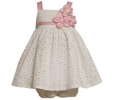 broderie anglaise baby girl dress .  i just love this material and the colours