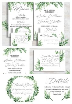 Wild Greenery Wedding Invitation Template Set