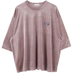 Heart Embroidered Velvet Oversized Tee (£14) ❤ liked on Polyvore featuring tops, t-shirts, shirts, elbow length tee, oversized tees, half sleeve tee, embroidered t shirts and print tees