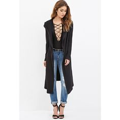 Forever 21 Forever 21 Women's  Hooded Longline Jacket ($30) ❤ liked on Polyvore featuring forever 21 jacket, forever 21, faux fur lined jacket, buckle jackets and white jacket