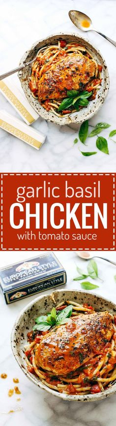 Garlic Basil Chicken with Tomato Butter Sauce - you won't believe that this real food recipe only requires 7 simple ingredients:… Best Chicken Recipes, Turkey Recipes, Real Food Recipes, Cooking Recipes, Healthy Recipes, Icing Recipes, Chickpea Recipes, Entree Recipes, Pudding Recipes