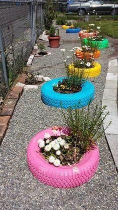 60 Inspiring Spring Garden Ideas for Front Yard and Backyard - garden landscaping Tire Garden, Garden Yard Ideas, Garden Crafts, Garden Projects, Garden Art, Garden Ideas With Tyres, Garden Drawing, Patio Ideas, Tire Planters