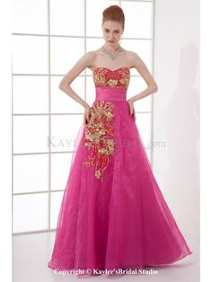 Organza Sweetheart A-line Floor Length Embroidered Prom Dress