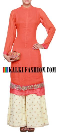 Buy Online from the link below. We ship worldwide (Free Shipping over US$100)  http://www.kalkifashion.com/orange-straight-fit-suit-featuring-with-gotta-patti-applique-work-only-on-kalki.html