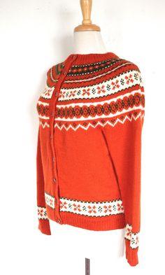 Vintage 1950's Sweater // 50s 60s Orange Wool by TrueValueVintage