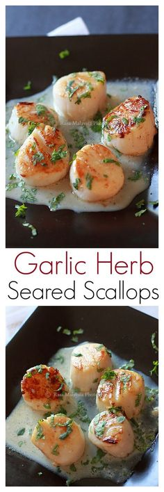 Seared Scallops with Garlic Herb Cream Sauce - the juiciest and most succulent seared scallops, in a to-die-for whisky vanilla cream sauce