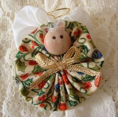 fabric yoyo ornaments | ... Ornaments | Christmas Angel Pins Handmade Fabric Yoyo by