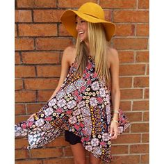 CUTE! Pattern and a yellow floppy hat! This is how we want to welcome fall! We currently have these in our Hourglass store located in Mobile, AL. 251-607-6099