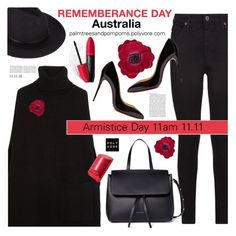 """Remembrance Day Australia / Joseph Cashmere turtleneck cape"" by palmtreesandpompoms ❤ liked on Polyvore featuring AG Adriano Goldschmied, Joseph, Christian Louboutin, Accessorize, Mansur Gavriel, Bobbi Brown Cosmetics, Revlon, modern and country"