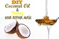 Dry hair? Try this coconut oil and honey hair mask to repair it! Click to read more